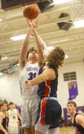 1-24-20<br /> Northwestern vs Cass boys basketball<br /> NW's Ethan Kinney puts up a shot.<br /> Kelly Lafferty Gerber | Kokomo Tribune