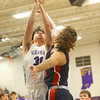 1-24-20<br /> Northwestern vs Cass boys basketball<br /> NW's Ethan Kinney puts up a shot.<br /> Kelly Lafferty Gerber | Kokomo Tribune