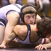 1-18-20<br /> Hoosier Conference wrestling tournament<br /> Western's Justin Brantley defeats RC's Cohen Craig in the 113.<br /> Kelly Lafferty Gerber | Kokomo Tribun