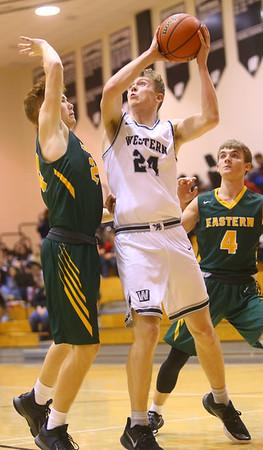 1-25-20<br /> Western vs Eastern boys basketball<br /> Western's Evan Kretz shoots.<br /> Kelly Lafferty Gerber   Kokomo Tribune