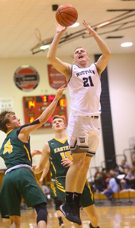 1-25-20<br /> Western vs Eastern boys basketball<br /> Western's Cooper Jarvis shoots.<br /> Kelly Lafferty Gerber | Kokomo Tribune