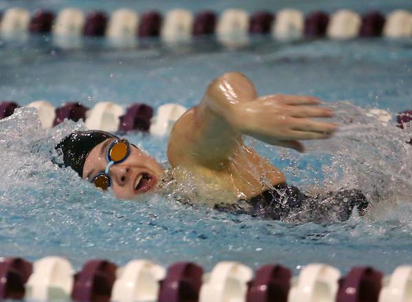 1-28-20<br /> Northwestern vs Western swimming<br /> Western's Anna Moore in the girls 200 yard medley relay.<br /> Kelly Lafferty Gerber | Kokomo Tribune