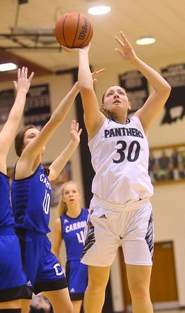 1-16-20<br /> Western vs Carroll girls basketball<br /> Western's Haley Scott shoots.<br /> Kelly Lafferty Gerber | Kokomo Tribune