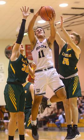 1-25-20<br /> Western vs Eastern boys basketball<br /> Western's Nathaniel Liddell shoots.<br /> Kelly Lafferty Gerber | Kokomo Tribune