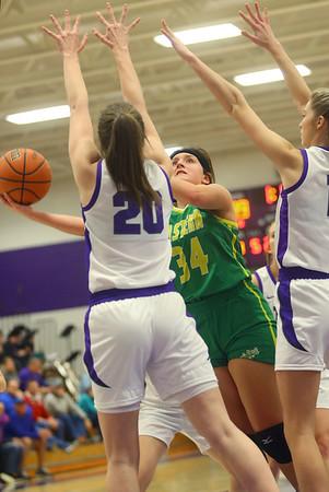 1-8-20<br /> Northwestern vs Eastern girls basketball<br /> Eastern's Jeanie Crabtree puts up a shot.<br /> Kelly Lafferty Gerber   Kokomo Tribune