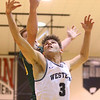 1-25-20<br /> Western vs Eastern boys basketball<br /> Western's Avery Hayes goes after a rebound.<br /> Kelly Lafferty Gerber | Kokomo Tribune