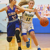 1-22-20<br /> Tri Central vs Elwood girls basketball<br /> Tri Central's Kenadie Fernung heads down the court.<br /> Kelly Lafferty Gerber | Kokomo Tribune
