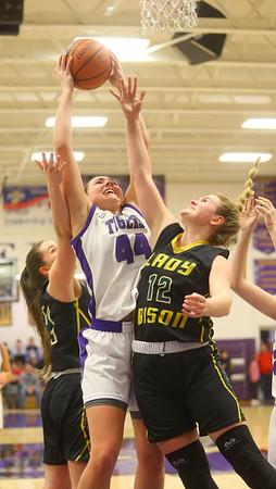 1-24-20<br /> Northwestern vs Benton Central girls basketball Hoosier conference<br /> NW's Kendall Bostic grabs a rebound.<br /> Kelly Lafferty Gerber | Kokomo Tribune