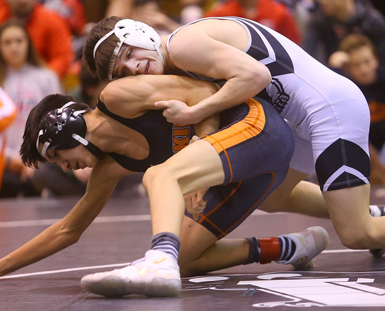 1-18-20<br /> Hoosier Conference wrestling tournament<br /> Western's Anthony Martin defeats HH's Isaiah Rodriguez in the 106.<br /> Kelly Lafferty Gerber | Kokomo Tribun