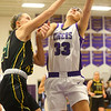 1-24-20<br /> Northwestern vs Benton Central girls basketball Hoosier conference<br /> NW's Madison Layden is fouled at the basket.<br /> Kelly Lafferty Gerber | Kokomo Tribune