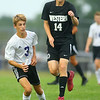 9-1-20<br /> Northwestern vs Western boys soccer<br /> NW's Kai Jackson and Western's Lucas Pitzer go after the ball.<br /> Kelly Lafferty Gerber | Kokomo Tribune