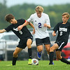 9-1-20<br /> Northwestern vs Western boys soccer<br /> NW's Jackson Hale, center, along with Western's Ray Weigt and Adam Turner vie for control of the ball.<br /> Kelly Lafferty Gerber | Kokomo Tribune