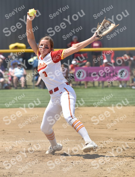 -Messenger photo by Britt Kudla<br /> Molly Hoekstra of Carlisle pitches against North Scott during class 4A semi-finals on Wednesday at Rogers Park