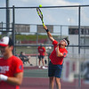 Players compete in the No. 1 doubles match during the season opener between the Lewis Cass Kings and Logansport Berries at Lewis Cass Jr./Sr. High School in Walton on Wednesday, Aug. 18, 2021.