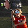 Lewis Cass' Gannon Davis competes against Logansport in #3 singles during the first match of the tennis sectional at Logansport High School on Wednesday, Sept. 29, 2021.