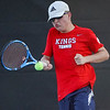 Lewis Cass' Jack Salyers hits the ball while competing against Logansport during the first match of the tennis sectional at Logansport High School on Wednesday, Sept. 29, 2021.