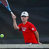 Lewis Cass' Jack Salyers competes during the first round of the tennis sectional at Logansport High School on Wednesday, Sept. 29, 2021.