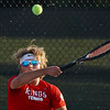Lewis Cass' Gannon Davis competes during the first round of the tennis sectional at Logansport High School on Wednesday, Sept. 29, 2021.