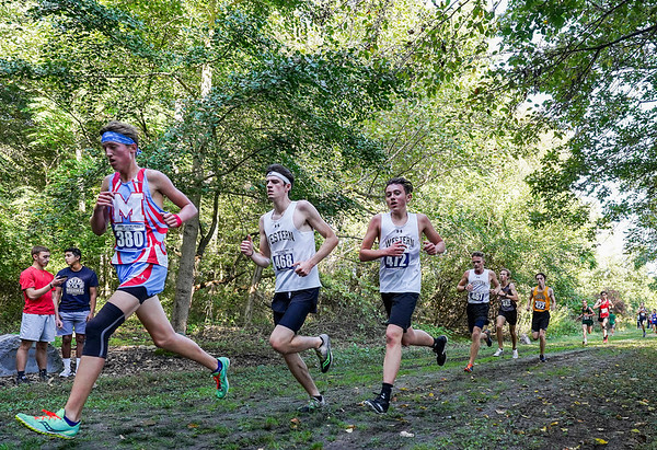 Western runners enter the Berry Patch during the cross country sectional at Logansport High School in Logansport on Saturday, Oct. 9, 2021.