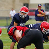 Lewis Cass Kings quarterback L.J. Hillis (11) prepares to snap the ball during a preseason scrimmage against the Southwood Knights at Lewis Cass Jr./Sr. High School in Walton on Friday, Aug. 13, 2021.