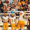 Pioneer Panthers receiver Caleb Sweet (40) catches a pass and runs it in for a touchdown on the first play from scrimmage during the first half of a game against the Caston Comets at Caston High School in Fulton on Friday, Sept. 10, 2021.