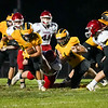 Pioneer Panthers running back Brock Robinson (10) runs during the first half of a game at the Pit in Royal Center on Friday, Oct. 1, 2021.