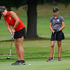 Logansport's girl's golf team competes during a game against Rochester Community High School at Dykeman Park Golf Course in Logansport on Tuesday, Sept. 7, 2021.