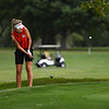 Logansport's Chloe Crook chips the ball onto the green during a game against Rochester Community High School at Dykeman Park Golf Course in Logansport on Tuesday, Sept. 7, 2021.