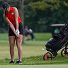 Logansport's Kendra Sutton chips the ball onto the green during a game against Rochester Community High School at Dykeman Park Golf Course in Logansport on Tuesday, Sept. 7, 2021.