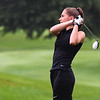Pioneer's Ashlynn Brooke follows through on a swing during the Twin Lakes sectional at Tippecanoe Country Club in Monticello on Monday, Sept. 20, 2021.