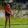 Logansport's Sophia Kay chips a shot during the Twin Lakes sectional at Tippecanoe Country Club in Monticello on Monday, Sept. 20, 2021.