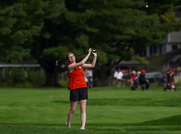 Logansport's Reiss Weaver reacts to a shot during the Twin Lakes sectional at Tippecanoe Country Club in Monticello on Monday, Sept. 20, 2021.
