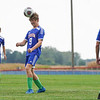 Caston Comets defender Caleb Stinson (9) heads the ball during the first half of a game at Caston High School in Fulton on Tuesday, Sept. 14, 2021.