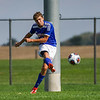 Caston Comets defender Rowan Jellison (5) takes a shot toward the net during the first half of the Class A sectional championship against the Winamac Warriors at Caston High School in Fulton on Saturday, Oct. 9, 2021.