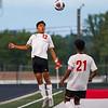 Logansport Berries midfielder Jareth Garcia (13) heads the ball during the Logansport sectional at Logansport Memorial Hospital Stadium on Monday, Oct. 4, 2021.