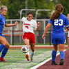 Logansport Berries defender Linney Fragoso (4) passes the ball during the first half of the Class 3A sectional semifinal against the Kokomo Wildkats at McCutcheon High School in Lafayette on Thursday, Oct. 7, 2021.