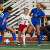 Logansport Berries forward Gracie Henderson (1) tries to get past the Kokomo Wildkats defense during the first half of the Class 3A sectional semifinal at McCutcheon High School in Lafayette on Thursday, Oct. 7, 2021.