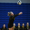 Pioneer Panthers setter Mackenzie Rogers (6) hits the ball during a game at Caston High School in Fulton on Thursday, Sept. 16, 2021.