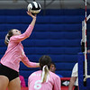 Caston Comets outside hitter Maddison Smith (5) hits the ball during a game at Caston High School in Fulton on Thursday, Sept. 16, 2021.