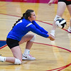 Caston Comets libero Addison Zimpleman (7) digs the ball during an HNAC game at Caston High School on Tuesday, Oct. 5, 2021.