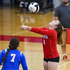 Caston Comets defensive specialist Kinzie Mollenkopf (8) hits the ball during an HNAC game at Caston High School on Tuesday, Oct. 5, 2021.