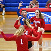 Caston Comets players react to a point during an HNAC game at Caston High School on Tuesday, Oct. 5, 2021.
