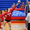 Caston Comets middle blocker Abby Williamson (6) tips the ball during an HNAC game at Caston High School on Tuesday, Oct. 5, 2021.