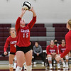 Caston Comets setter Annie Harsh (15) sets during a game at Winamac Community High School on Thursday, Sept. 9, 2021.