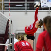 Caston Comets middle blocker Abby Williamson (6) hits the ball during a game at Winamac Community High School on Thursday, Sept. 9, 2021.