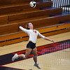 Lewis Cass Kings outside hitter Maci Garland (19) serves during a game at Lewis Cass Jr./Sr. High School in Walton on Monday, Sept. 27, 2021.