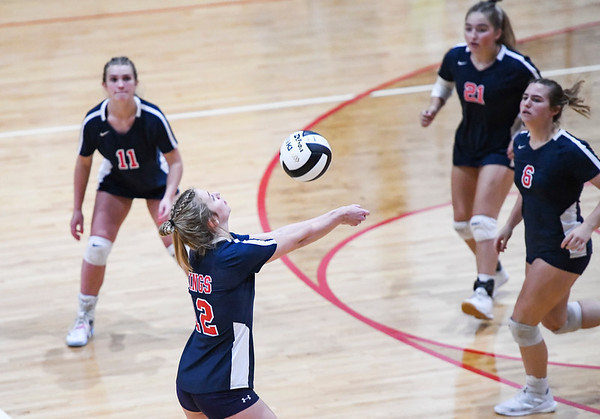 The Lewis Cass Kings compete against the Rossville Hornets during a Class 2A sectional game at Rossville High School on Tuesday, Oct. 12, 2021.