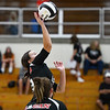 Logansport Berries' Alicia Sutton (19) goes for a kill during a game between the Logansport Berries and Northwestern Tigers at the Berry Bowl in Logansport on Thursday, Aug. 19, 2021.