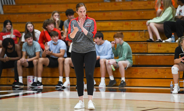 Logansport Berries' head coach Haleigh Toumine prepares for her first game as coach at the Berry Bowl in Logansport on Thursday, Aug. 19, 2021.