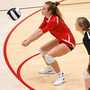 Logansport Berries' Kassie See (8) digs the ball during a game at the Berry Bowl in Logansport on Tuesday, Sept. 28, 2021.